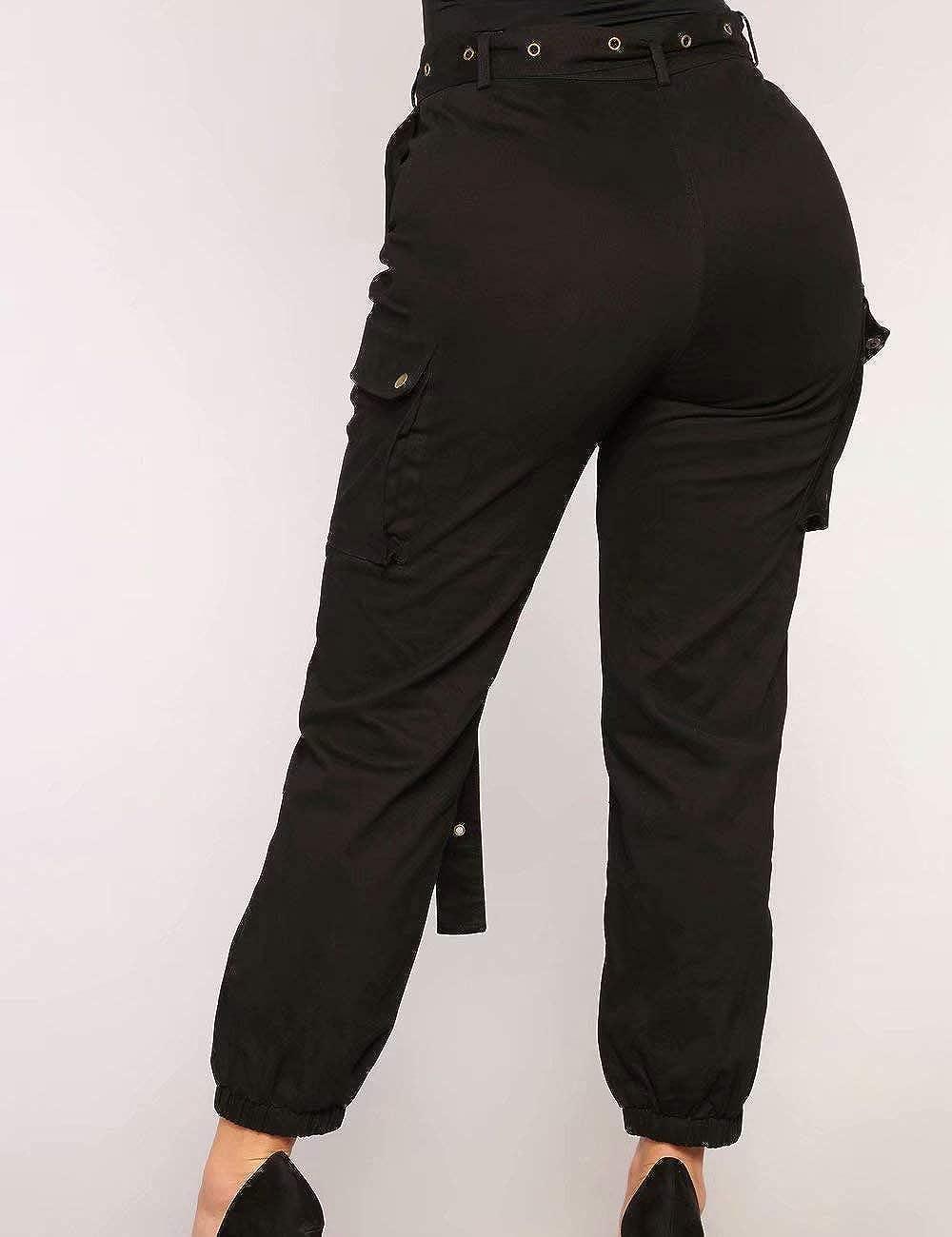 2f0ee37d0eb Frecoccialo Femme Pantalon Cargo Taille et Bas Elastique Pantalon Chino  Femme avec Poches Plaquées à Rabat aux Côtés Taille Grande