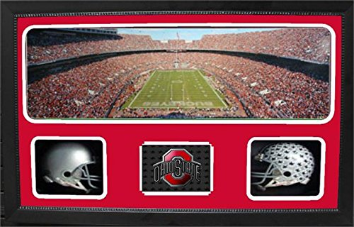 Encore Select 657-30 NCAA Ohio State Buckeyes Custom Framed Sports Memorabilia with Two Mini Helmets Photograph and Name Plate by Encore