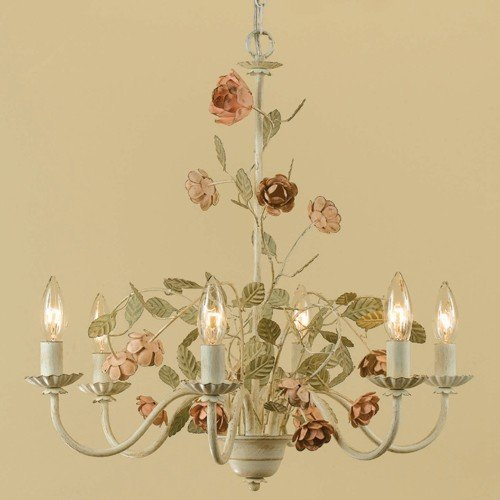 Flower chandelier amazon af lighting 7050 6h ramblin rose six light chandelier aloadofball Image collections