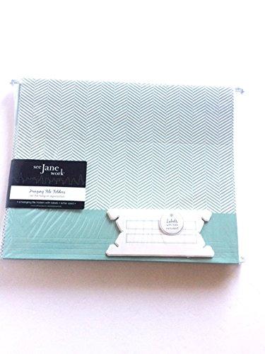 See Jane Work Herringbone Hanging File Folders, Letter Size, Green, Pack Of 6 Advantus File Folder