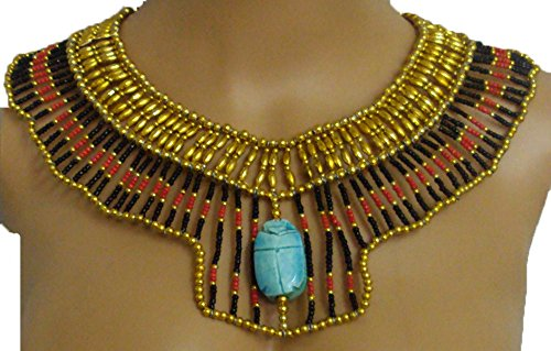 Egyptian Hand Made Multi Beaded Scarab Beads Cleopatra Nefertiti Queen Style Necklace Collar Choker Pendant Christmas Halloween Ancient Egypt Pharaoh Costume Accessory Jewelry Belly Dance (Cleopatra Style Necklace)