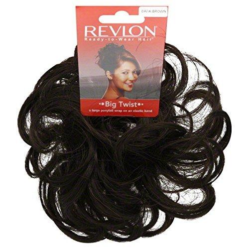 "Big Twist Color Dark Brown - Revlon Hairpiece 3"" Length Short Tight Curls Synthetic Elasticized Hair Wrap Around Ponytail Schrunchy Fun Bun Around Pedazo de cabello"