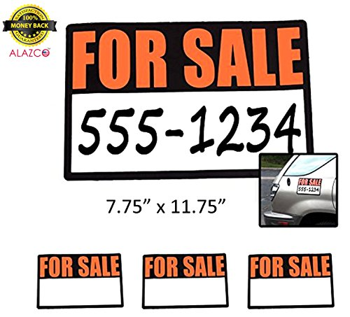 3pc ALAZCO High-Visibility Magnetic For Sale Signs for Cars & Trucks 12'' x 8''