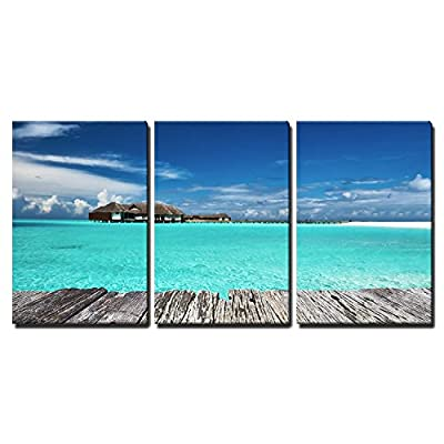 3 Piece Canvas Wall Art - Beautiful Beach with Jetty at Maldives - Modern Home Art Stretched and Framed Ready to Hang - 16