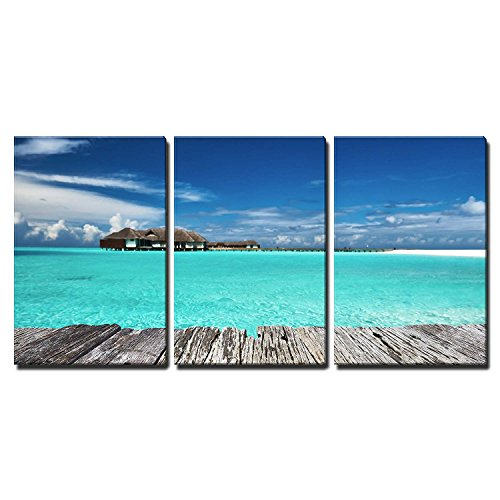 wall26 - 3 Piece Canvas Wall Art - Beautiful Beach with Jetty at Maldives - Modern Home Decor Stretched and Framed Ready to Hang - 24