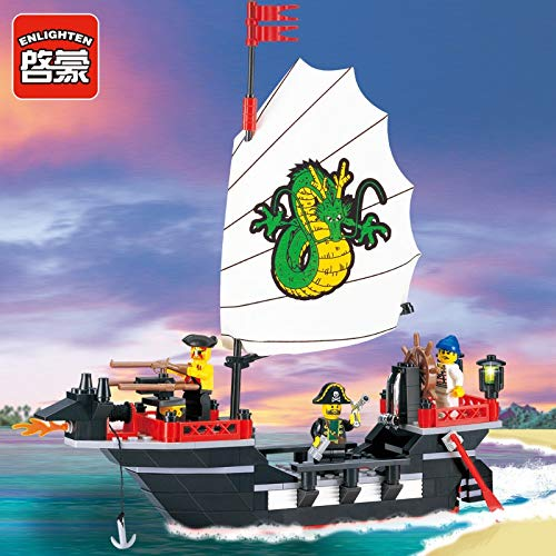 Aquaman Store Pirate Series - Enlighten 211pcs Pirate Ship Dragon Boat Compatible LegoINGLY Building Blocks Sets Bringuedos DIY Educational Toys for Children 1 PCs