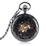 Exquisite Pocket Watch, Mechanical Hand Wind Pocket Watch for Men, Hollow Gear Design Roman Numerals Pocket Watch Gift