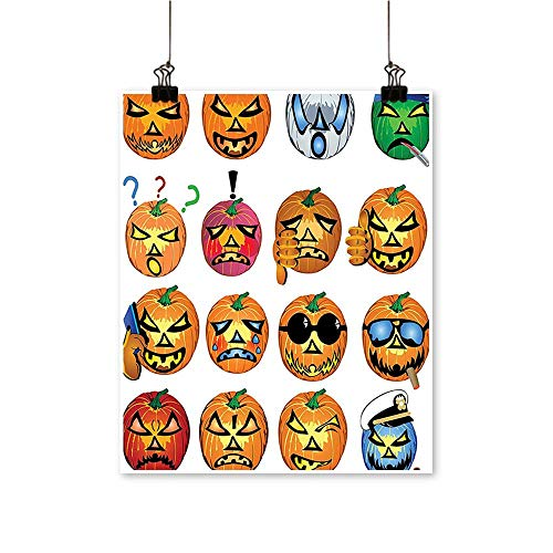 Canvas Print Wall Art Pumpkin Emoji Fac Halloween Hipster sters Harv Graphic Orange Canvas Texture Decoration,28