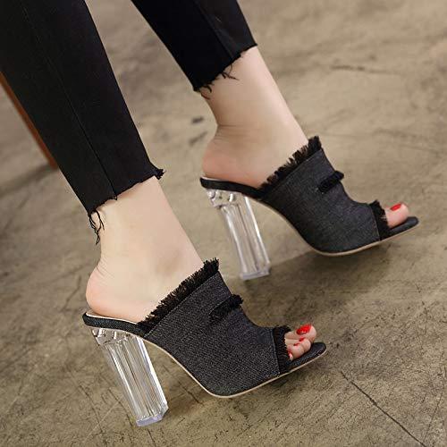 Da Pantofole Mules Denim Estive Toe Esterne Moda Donna Tacchi Festa Pingxiannv Femminili Black Alti Open Scarpe d5vxdf