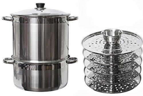 5 Tier/Level 20 qt Uzbek 18/10 Stainless Steel Steamer Cooker Warmer w/Tempered Glass Cover for Dumplings, Ravioli, Vegetables, Fish, Manti, Mantovarka ()