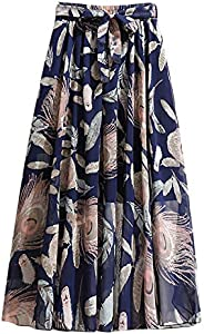 VBNG Women's Chiffon Boho Floral Flower Pattern Elastic High Waist Pleated A-Line Flared Maxi Sk