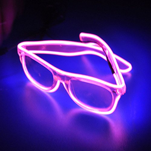 [[Props For Christmas]BOOMER VIVI EL Wired LED Eyeglasses Light Up Fashion Glasses Illuminated Neon LED Eyeglasses For Parties, Costume, Ball, Disco Clubs, Haloween , Birthdays, Festivals] (Haloween Adult Costumes)