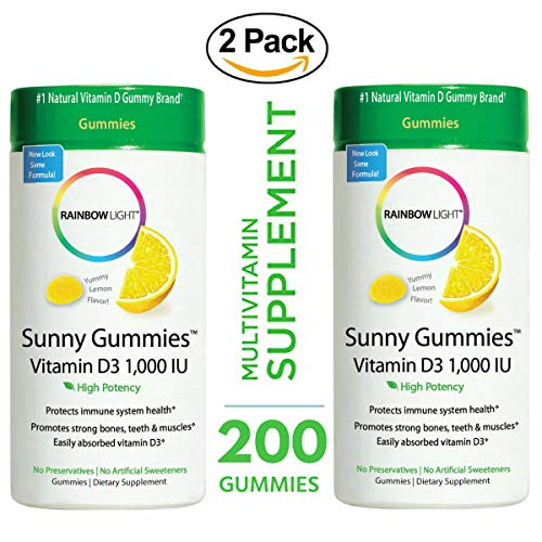 Rainbow Light - Sunny Gummies Vitamin D3 Supplement 1000 IU (2 Pack of 100) - Promotes Strong Bones, Teeth, Muscles and Immunity Health, Supports Cardiovascular, Colon, Breast and Prostate Health