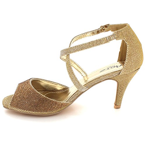 Gold High Heel Evening Bridal Shoes LONDON Sandals AARZ Womens Size Wedding Party Diamante Ladies Sparkly Prom Crystal w7qaqP4S