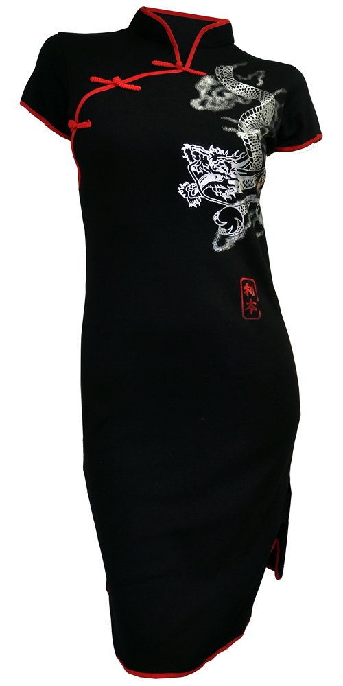 Amazing Grace Elephant CO. Chinese Tunic Dress Modern Style Qipao Cheongsam Dress (Medium, Silver Dragon Black)