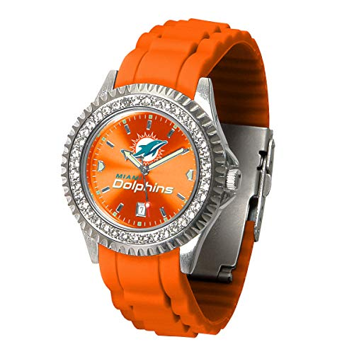 Game Time NFL Miami Dolphins Womens SparkleWrist Watch, Team Color, One Size - Miami Dolphins Womens Watches