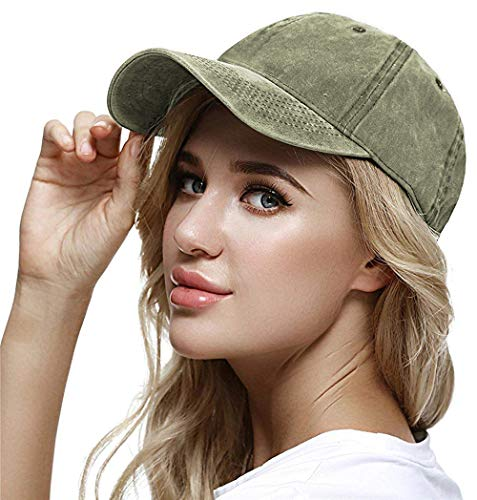 WINCAN Vintage Washed Dyed Cotton Twill Low Profile Adjustable Baseball Cap  (Army Green) 153fa6b377f3