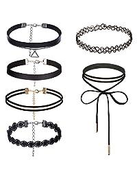 Natural Feelings 1-9 Pcs Womens Black Choker Necklace Set Classic Velvet Tattoo Lace Choker Necklace