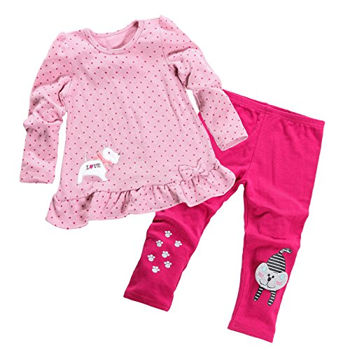 Aikobaby Baby Girls Cute Outfits Polka Dot Long Sleeve 2pcs Tops & Legging Pants Children Clothes (Pretty Girl Outfits)