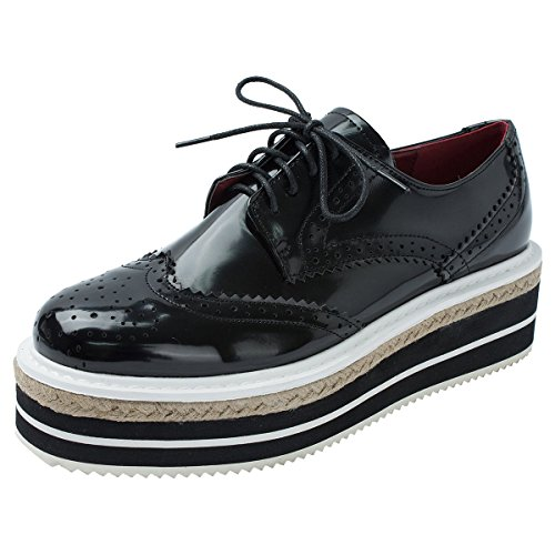 MINIVOG Platform Wingtips Square Toe Women Oxfords Shoe Black 8