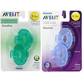 Philips Avent Soothie Pacifier,Blue and Green, 0-3 Months, 4 count