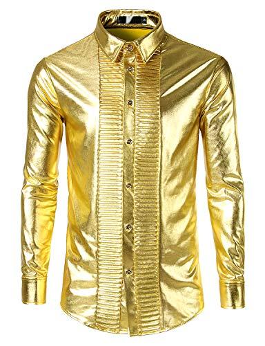 ZEROYAA Men's Geek Metallic Shiny Nightclub Party Shirt Slim Fit Long Sleeve Tuxedo Shirts Z98 Gold Large