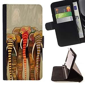 Momo Phone Case / Flip Funda de Cuero Case Cover - Pintura África Beige Arte - Huawei Ascend P8 Lite (Not for Normal P8)