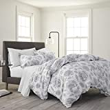 EcoPure 100% Organic Cotton Wash Meadow Walk Comforter Set, Twin, Gray