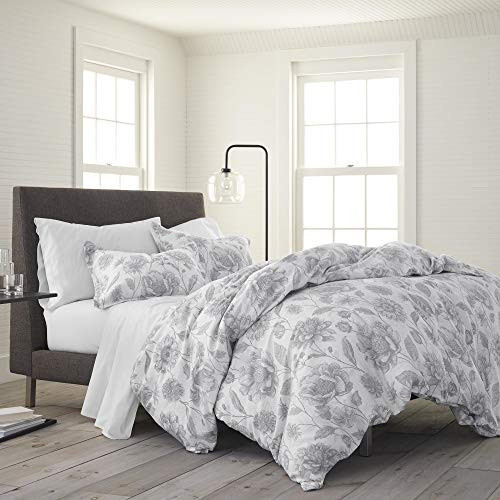 EcoPure 100% Organic Cotton Wash Meadow Walk Comforter Set, Full/Queen, Gray
