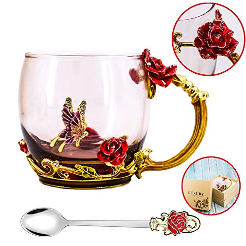 Tea Cup, Mother's Day Gifts, Coffee Mug, Clear Glass Cups with Spoon Set, Lead Free Handmade Butterfly, Unique Rose Flower Enamel Design, Birthday Decoration Wedding Gift Ideas (Red Short) (Tea Mugs Beautiful)