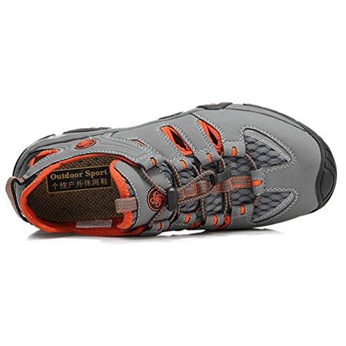 Naranja Gris Hombres Casual Super Nuevo Verano Sandalias Skynet Malla Zapatos Ligeros Transpirable FqC4xvwZF