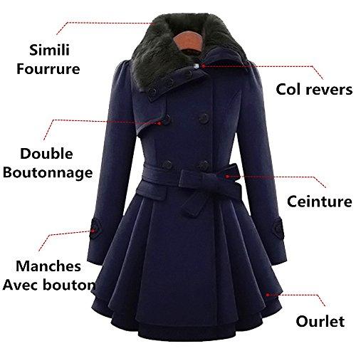 YOSICIL Coat Parkas Double Laine Veste Mi Long Trench Boutonnage Manteau Femme rIwYzXcqxr