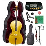 Merano 4/4 Full Size Gold Cello with Hard Case, Bag and Bow+2 Sets of Strings+Cello Stand+Black Music Stand+Metro Tuner+Mute+Rosin