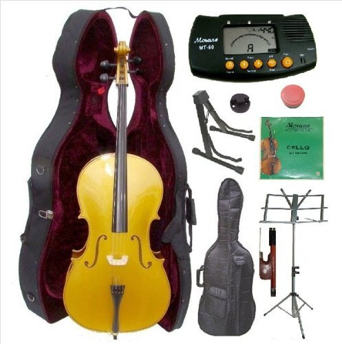 Merano 4/4 Full Size Gold Cello with Hard Case, Bag and Bow+2 Sets of Strings+Cello Stand+Black Music Stand+Metro Tuner+Mute+Rosin by Merano