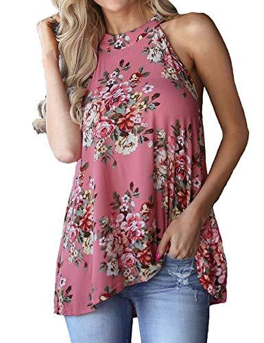 Jusfitsu Women's Casual Halter Neck T-Shirts Sleeveless Tank Tops Floral Print Blouses Rose L