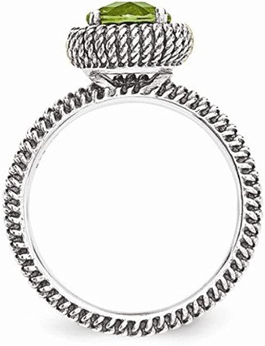 Mia Diamonds 925 Sterling Silver and 14k Yellow y Peridot Bangle