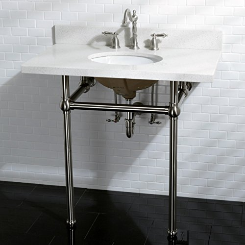 Kingston Brass White Quartz 36 Inch Wall Mount Pedestal Bathroom Sink Vanity With Metal Stand