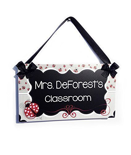 Teachers Hanging Door Sign Black and Grey Shabby Frame with (Ladybug Welcome Sign)