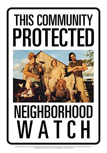 Aquarius Texas Chainsaw Massacre Sawyers Neighborhood Watch Tin Sign -