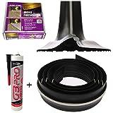 Heavy Duty Garage Door Floor Seal Kit - 8Foot / 2.5M Black Rubber & Adhesive