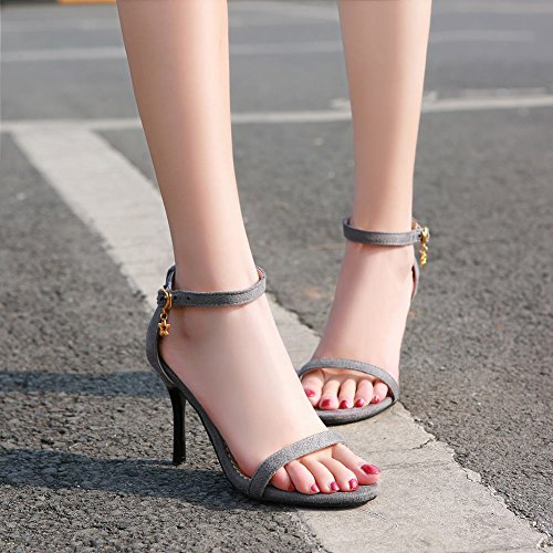 Carolbar WomenS Ankle Strap Buckle Chic Open Toe Sexy Evening Party Ball High Stiletto Heel Dress Sandals Grey GI4bEc64i
