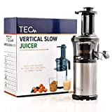 TEC Slow Masticating Juicer - Portable, Compact, Lightweight; Easy to Set Up & Clean; Plus a Powerful, Quiet 200 W Motor [Includes a Cleaning Brush, 2 Stainless Steel Straws, 99.99% Pulp Free Strainer]