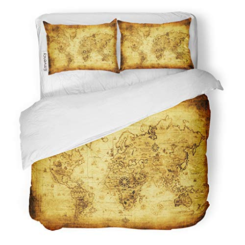 Semtomn Decor Duvet Cover Set Twin Size Brown Old Ancient Map of The World Vintage Antique 3 Piece Brushed Microfiber Fabric Print Bedding Set Cover]()