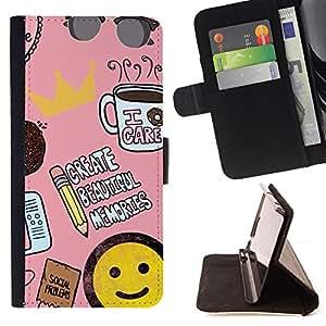 BullDog Case - FOR/Sony Xperia Z2 D6502 / - / writer coffee smiley pink sunglasses /- Monedero de cuero de la PU Llevar cubierta de la caja con el ID Credit Card Slots Flip funda de cuer