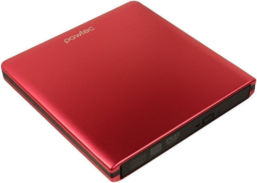 Pawtec External USB 3.0 Aluminum 8X DVD-RW Writer Optical Drive For PC Windows /& Mac Red