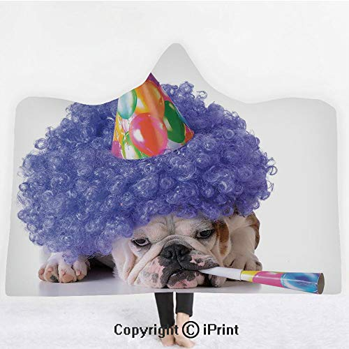 Birthday Decorations for Kids 3D Print Soft Hooded Blanket Boys Girls Premium Throw Blanket,Boxer Dog Animal with Purple Wig with Colorful Party Cone,Lightweight Microfiber(Kids 50