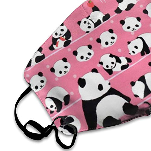 Mouth Mask For Daily Dress Up, Pink Panda Anti-dust Mouth-Muffle, Washable Reusable Holiday Half Face Masks For Mens And Womens With Adjustable Earloop