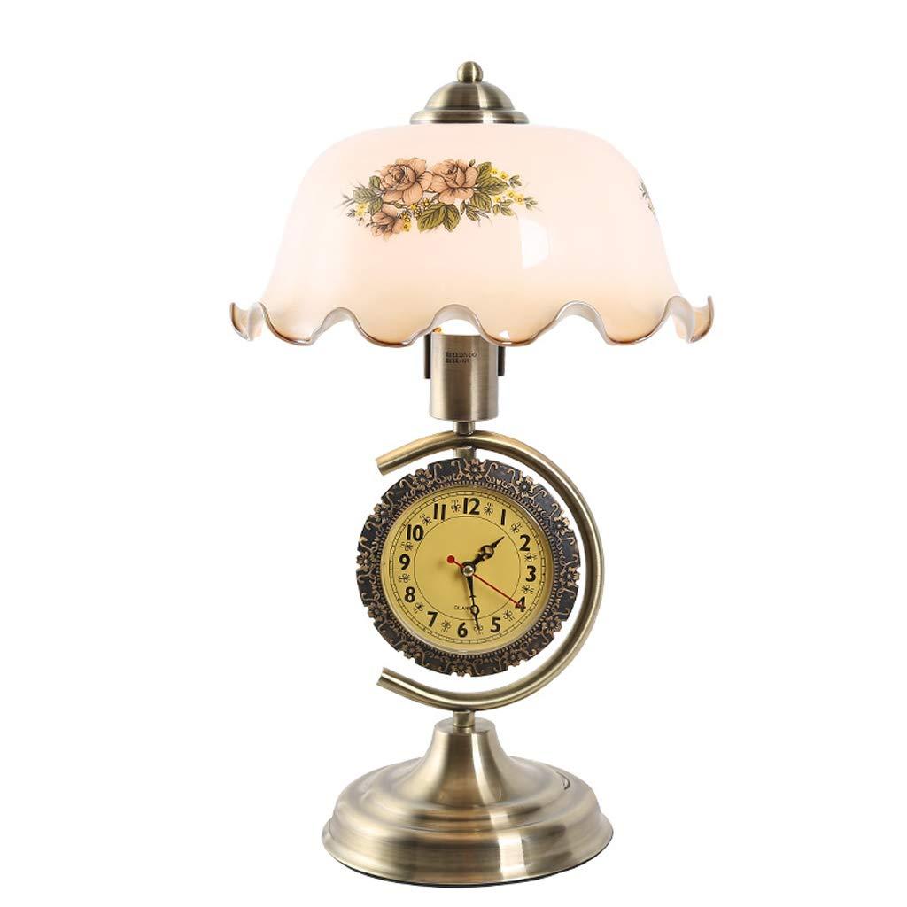 TMY Lámpara de sobremesa de Cristal Retro Sala Reloj de Hierro Forjado Sala Retro de Estar Dormitorio Lámpara de cabecera Ahorro de energía 27  44 cm 98b403
