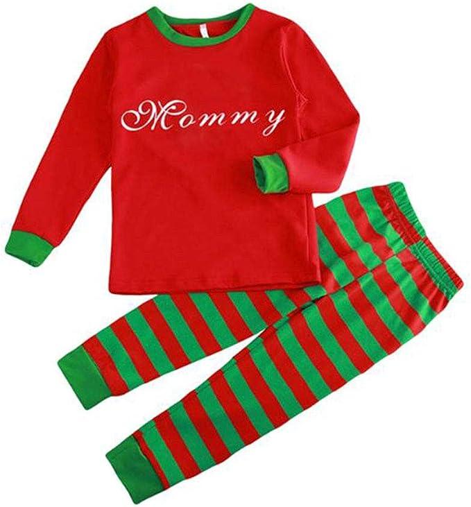 TALLA UK/EU/US/AUS M=Tag XL. Hzjundasi Conjunto Pijamas Familia Navidad - Otoño Invierno Navidad Letras Impreso Ropa Familia Pijama Traje,Rojo/Verde