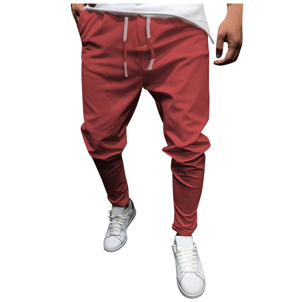 Mens Sweatpants F/_Gotal Men/'s Casual Solid Color Drawstring Elastic Waist Sports Running Pants Trouser with Pockets
